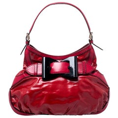 Gucci Red Coated Canvas and Leather Medium Queen Hobo