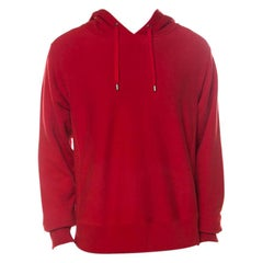 Gucci Red Cotton Jersey Dragon Embroidered Hoodie L