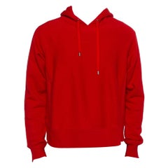 Gucci Red Cotton Knit Dragon Embroidered Hoodie S