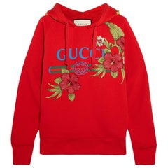 GUCCI red cotton OVERSIZED HIBISUCS FLOWER HODDIE Sweater M