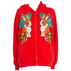 GUCCI red cotton RABBIT EMBROIDERED HOODED ZIP FRONT Cardigan Sweater S