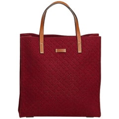 Gucci Red Diamante Wool Tote Bag