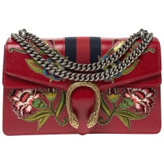 Gucci Red Embroidered Leather Dionysus Shoulder Bag