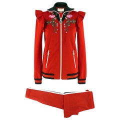 Gucci Red Embroidered Tracksuit S