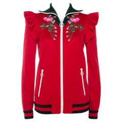 Gucci Red Floral Embroidered Ruffled Detail Technical Jacket S
