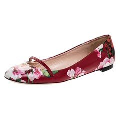 Gucci Red Floral Printed Leather Blooms Ballet Flats Size 37