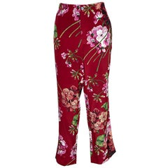 Gucci Red Floral Printed Silk Pajama Pants M