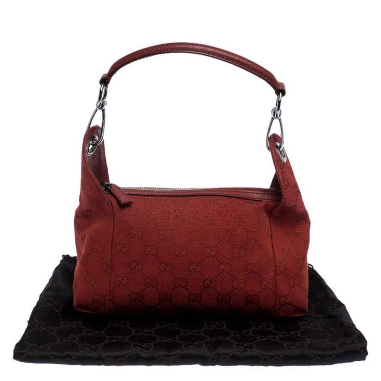 Gucci Red GG Canvas and Leather Shoulder Bag For Sale 8