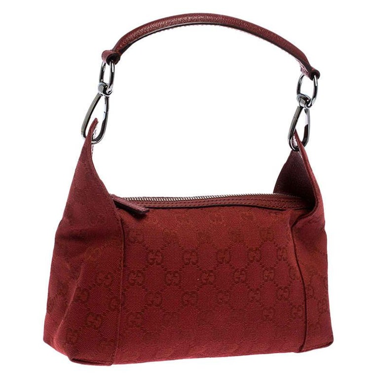 Women's Gucci Red GG Canvas and Leather Shoulder Bag For Sale