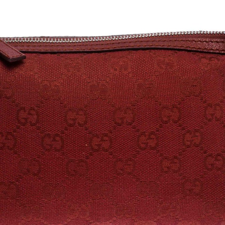 Gucci Red GG Canvas and Leather Shoulder Bag For Sale 1