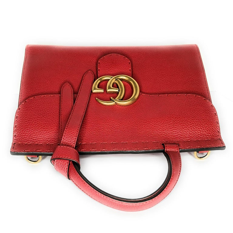Gucci Red GG Marmont Top Handle Bag For Sale 1