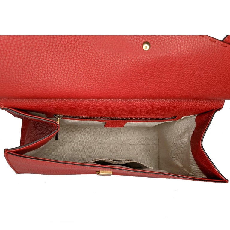 Gucci Red GG Marmont Top Handle Bag For Sale 2