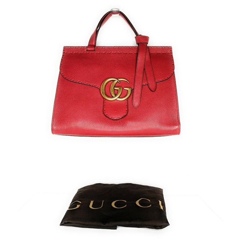Gucci Red GG Marmont Top Handle Bag For Sale 4