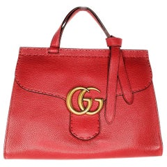 Gucci Red GG Marmont Top Handle Bag