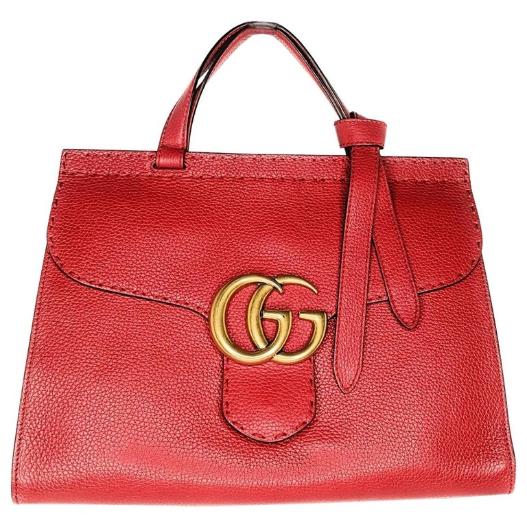 Gucci Red GG Marmont Top Handle Bag For Sale