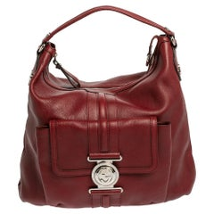 Gucci Red Grained Leather Medium G Coin Hobo