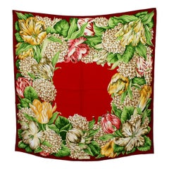 Gucci Red Green Floral Scarves 1990s