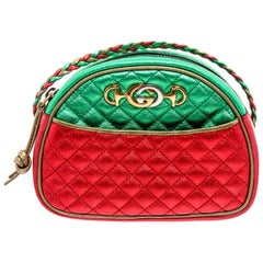 Gucci Red Green Metallic Quilted Leather Mini Dome Trapuntata Crossbody Bag