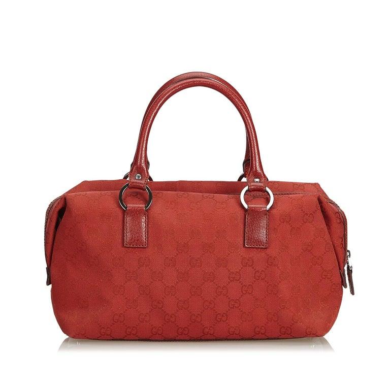 e01c48bbb7d Gucci Red Guccissima Jacquard Boston Bag In Good Condition For Sale In  Orlando