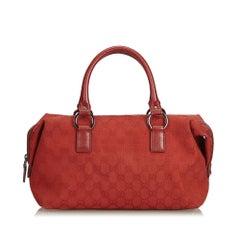 Gucci Red Guccissima Jacquard Boston Bag