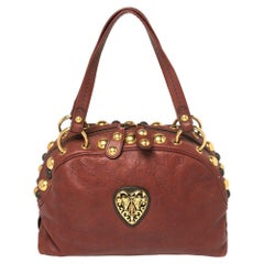 Gucci Red Guccissima Leaher Small Babouska Crest Dome Bag