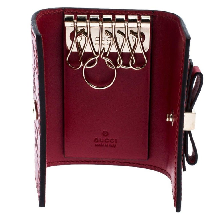 Gucci Red Guccissima Leather Bow 6 Key Holder For Sale 1