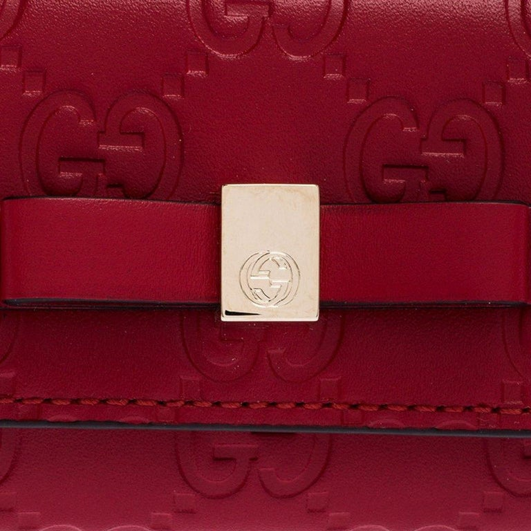 Gucci Red Guccissima Leather Bow 6 Key Holder For Sale 2