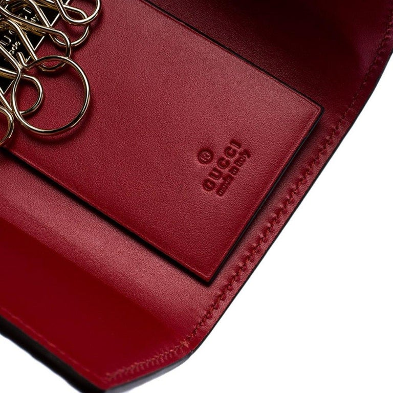 Gucci Red Guccissima Leather Bow 6 Key Holder For Sale 5