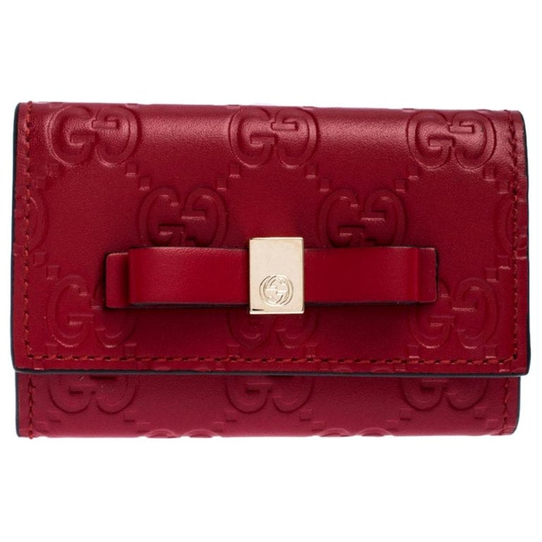 Gucci Red Guccissima Leather Bow 6 Key Holder For Sale