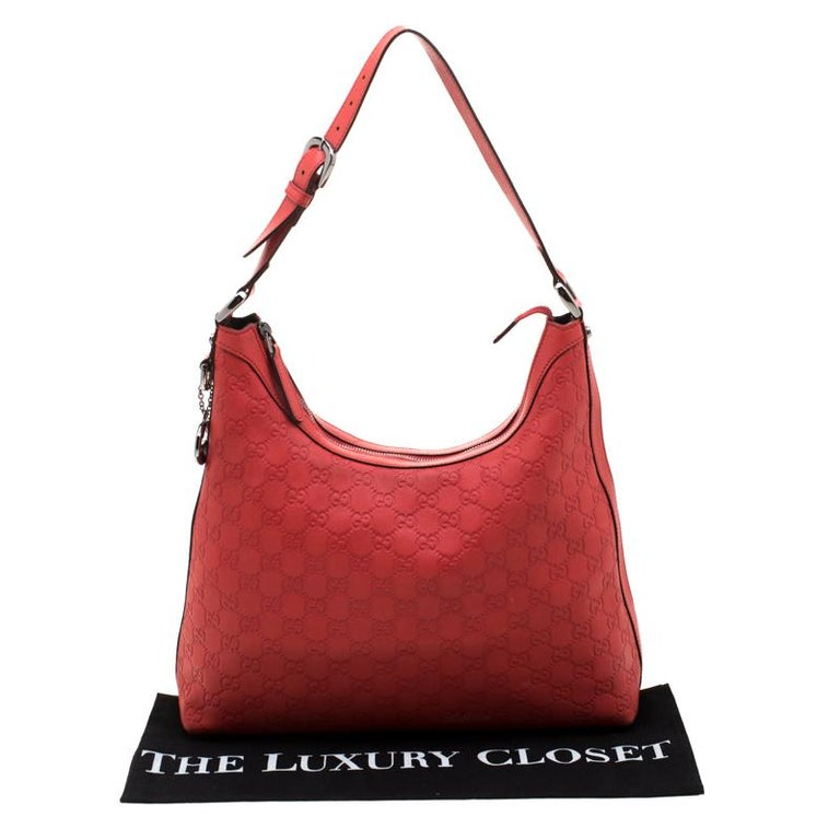 Gucci Red Guccissima Leather Charm Hobo For Sale 8
