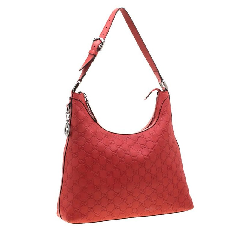 Women's Gucci Red Guccissima Leather Charm Hobo For Sale