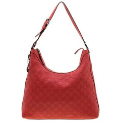 Gucci Red Guccissima Leather Charm Hobo