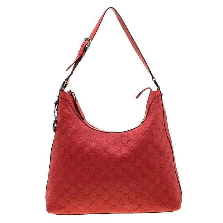 Gucci Red Guccissima Leather Charm Hobo For Sale