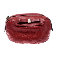 Gucci Red Guccissima Leather Cosmetic Pouch