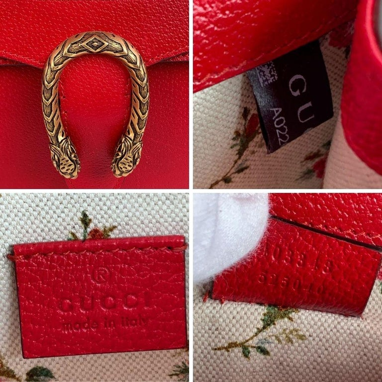 Gucci Red Hibiscus Leather Dionysus Medium Shoulder Bag For Sale 6