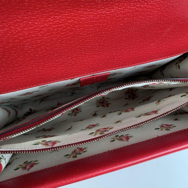Gucci Red Hibiscus Leather Dionysus Medium Shoulder Bag For Sale 7