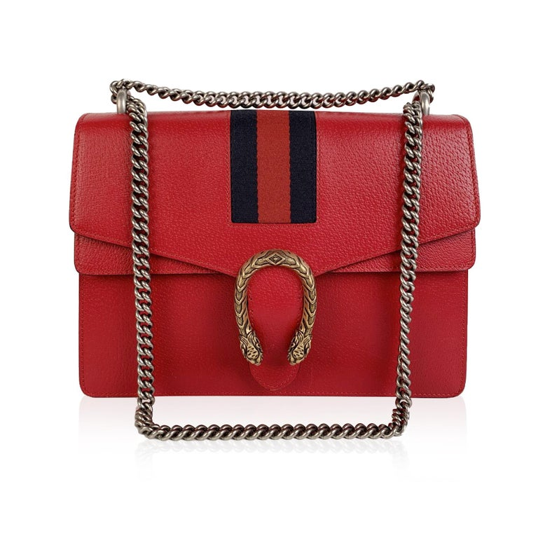 Women's Gucci Red Hibiscus Leather Dionysus Medium Shoulder Bag For Sale