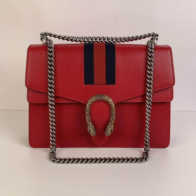 Gucci Red Hibiscus Leather Dionysus Medium Shoulder Bag For Sale 1