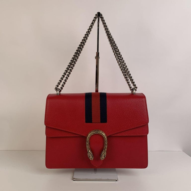 Gucci Red Hibiscus Leather Dionysus Medium Shoulder Bag For Sale 2