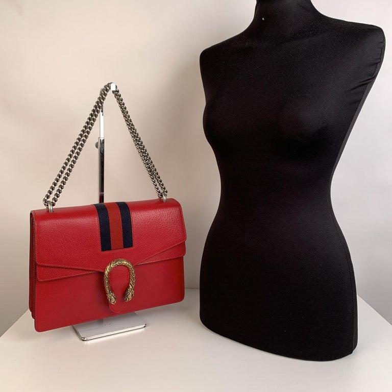 Gucci Red Hibiscus Leather Dionysus Medium Shoulder Bag For Sale 3
