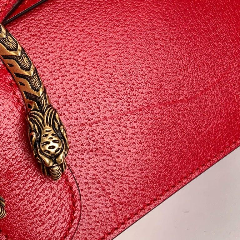 Gucci Red Hibiscus Leather Dionysus Medium Shoulder Bag For Sale 5