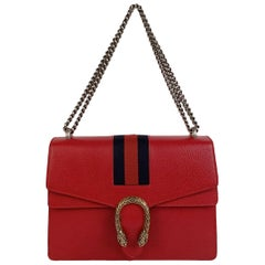 Gucci Red Hibiscus Leather Dionysus Medium Shoulder Bag