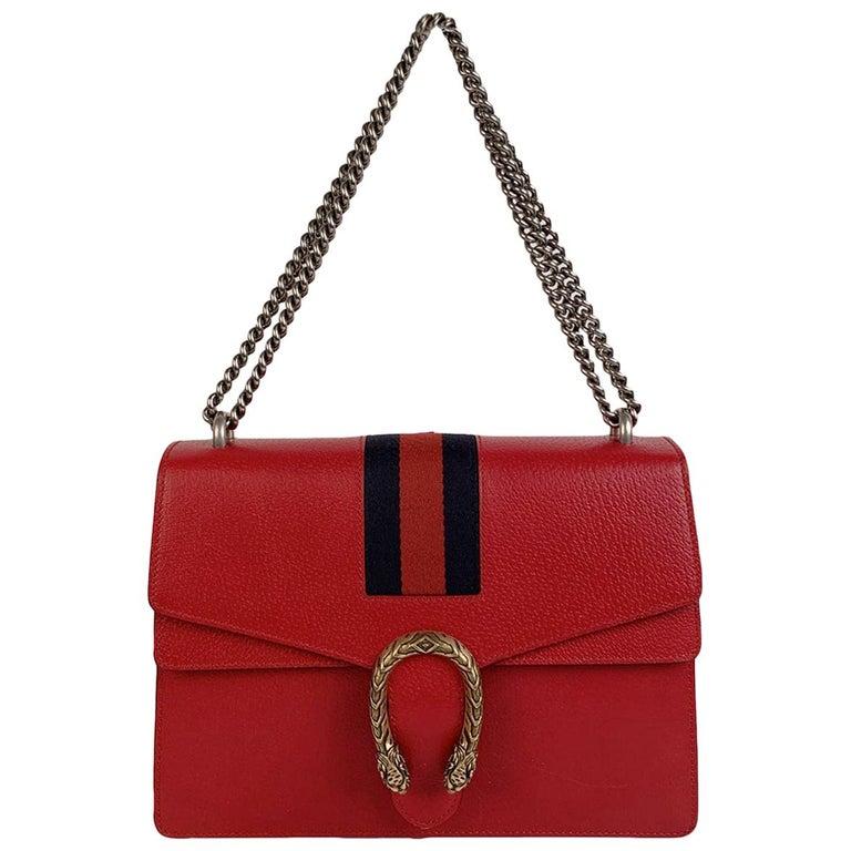 Gucci Red Hibiscus Leather Dionysus Medium Shoulder Bag For Sale