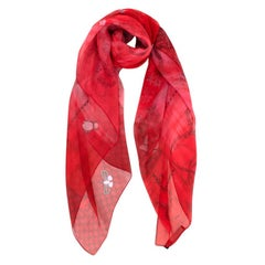 Gucci Red House Staples Print Sheer Silk Shawl