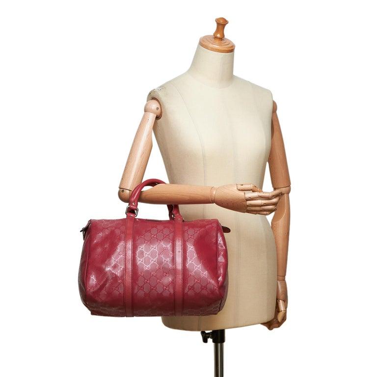 27e796a2b3fa Gucci Red Imprime Guccissima Boston Bag For Sale 7