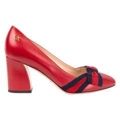 GUCCI red leather ALINE BLOCK HEEL Pumps Shoes 39
