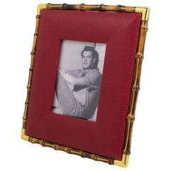 Gucci Red Leather and Bamboo Picture Frame