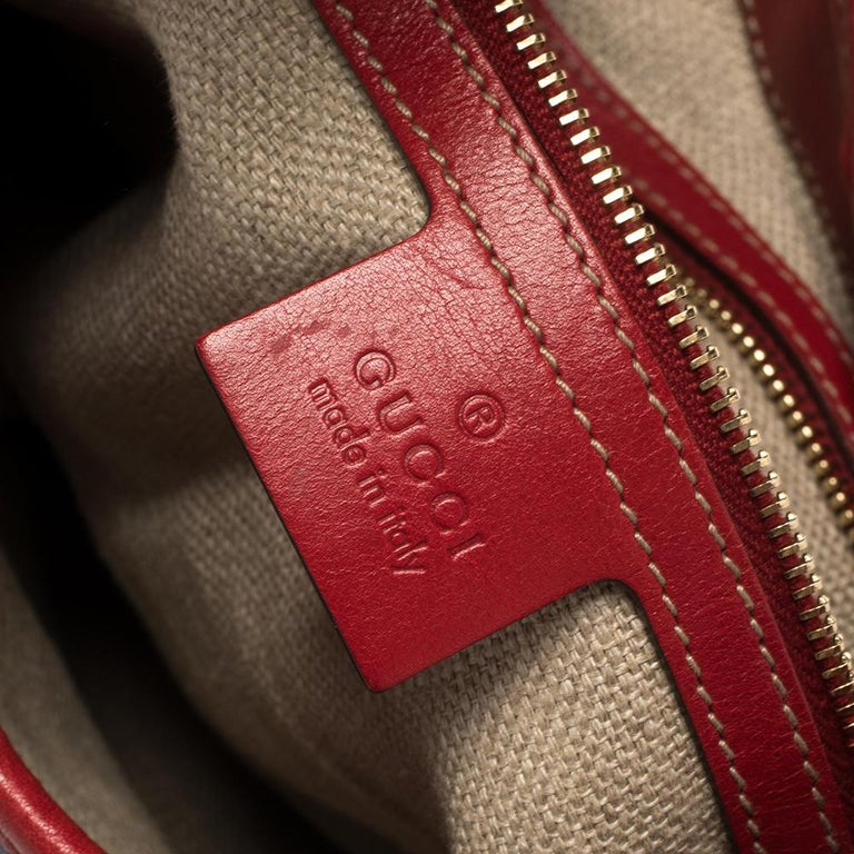 Gucci Red Leather And Canvas Web Jackie O Bouvier Hobo For Sale 6