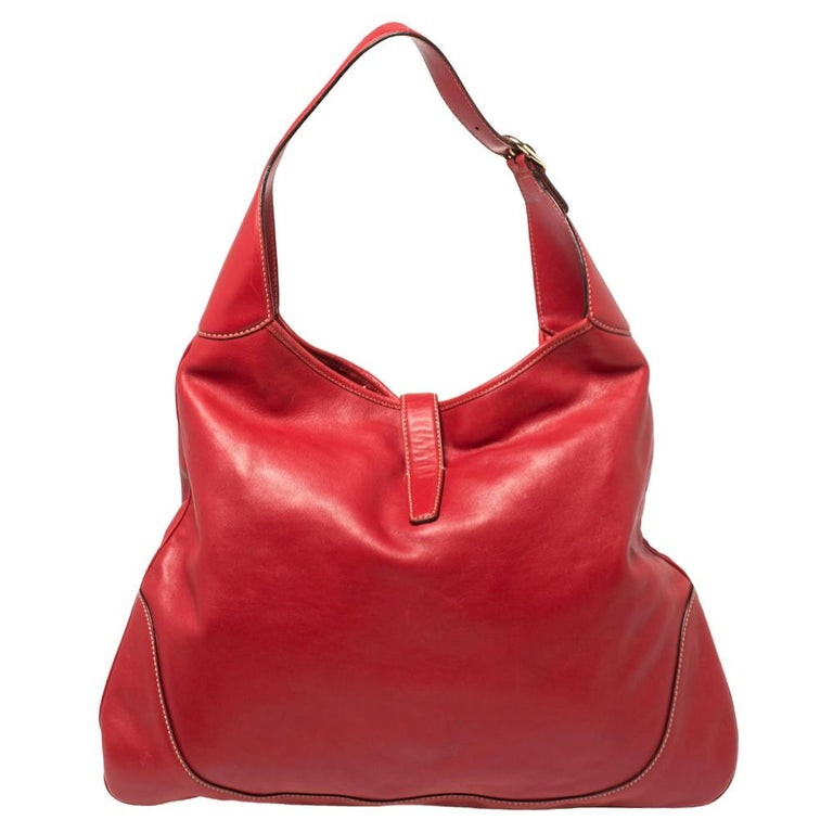Women's Gucci Red Leather And Canvas Web Jackie O Bouvier Hobo For Sale