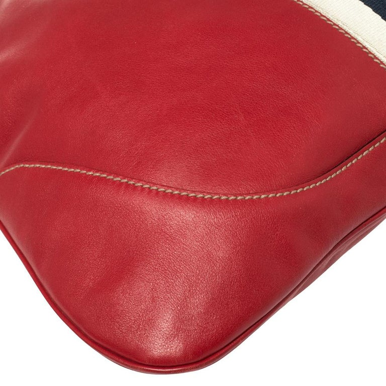Gucci Red Leather And Canvas Web Jackie O Bouvier Hobo For Sale 1